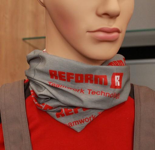 Foulard tubulaire en gris et rouge